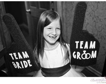 Team Bride & Team Groom Foam Finger Set - Color of Your Choice - Photo Props