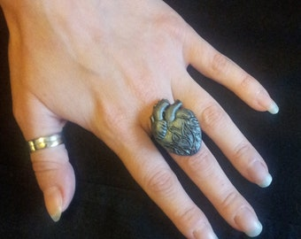 Handmade Anatomically Correct Silver Heart Ring Vintage Art Deco Style Very Gothic Steampunk