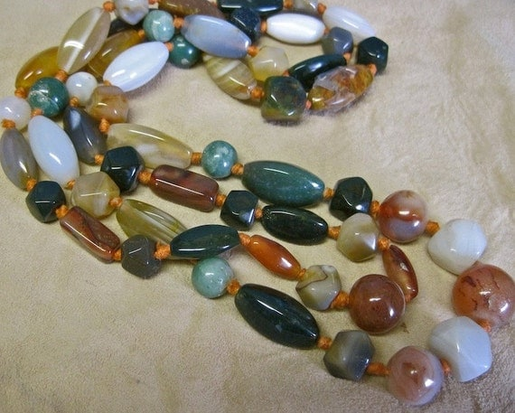 Agate Necklace Boho Tribal Vintage 70s Oversized Bold Chunky Polished Multi Colored Green Semi Precious Stones Extra Long Knotted No Clasp