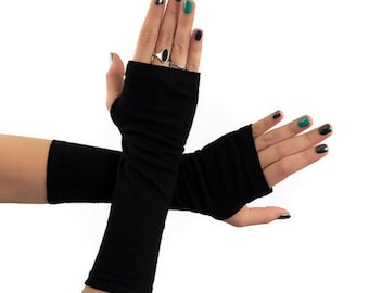 Black Fingerless Gloves, Long Arm Warmers, Wrist Warmers, Jersey Cotton Gloves, Dark Womens Tattoo Cover Up, Covers, Womens Gift for Her