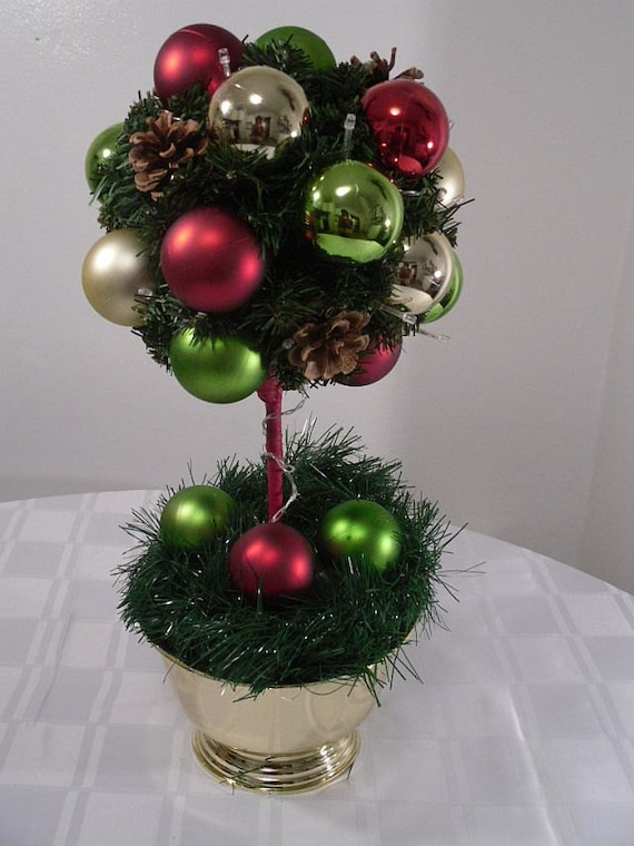 Christmas Ornament Topiary Tree Pre Lit Holiday Centerpiece