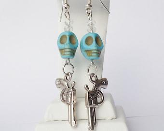 Turquoise Sugar Skull and Gun Earrings