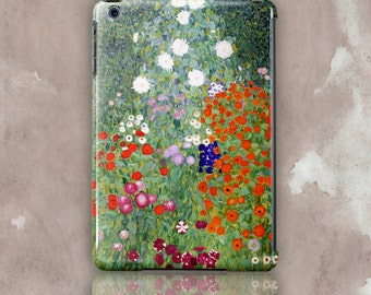 "iPad, iPad Mini, iPad Mini Air hard Case. Gustav Klimt ""Flower garden"". White and red flowers on green leafy background."