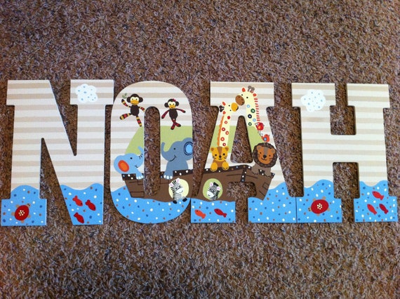 Reserved Hand Painted Wooden Letters Lambs Amp Ivy Ss Noah