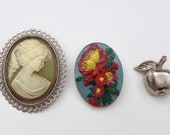 Vintage Brooches 80s set of three Cameo silver colored apple and flowered