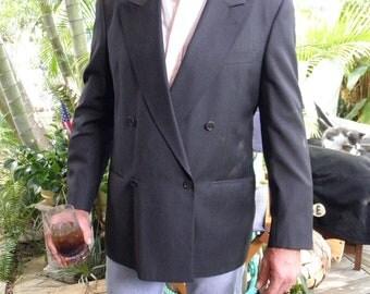 Vintage Valentino UOMO,mens 42L,  Grey Wool Double Breasted Vintage Suit Coat, Jacket, Blazer