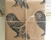 Barn Owl Rustic Bird Hand Printed Gift Wrap - One Sheet 50 x 70cms