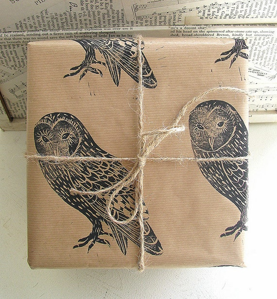Barn Owl Rustic Bird Hand Printed Gift Wrap - One Sheet 50 x 70cms