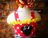 Minnie Mouse Birthday Outfit Boutique Girls Dress Boutique Hairbow  Childrens Clothing 6-12m 12-18m 18-24m 2T 3T 4T 5 6  7/8  9/10  11/12