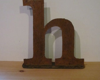 "15 inch Lowercase metal letter ""h"" on stand"