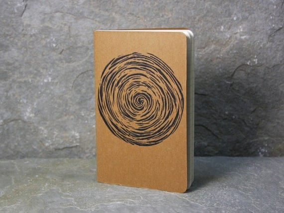 Vortex Journal of Swirling Atmosphere.  Moleskine, small travel journal. Notebook. Black hole. Space. Free gift tag.