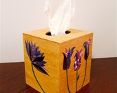 Wooden Tissue Box Holder, Decoupage Paper Flower Collages, Purple