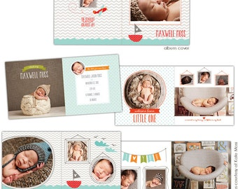 INSTANT DOWNLOAD - 12x12 Album template for photographers - Little Adventure - E628