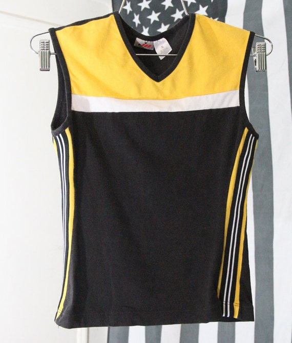 Yellow and Black 90s Stretchy Sporty Athletic Top