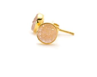 Drusy Quartz Stud Earrings - 24k Gold Vermeil - 6mm Round - Light Pink Drusy Quartz Studs