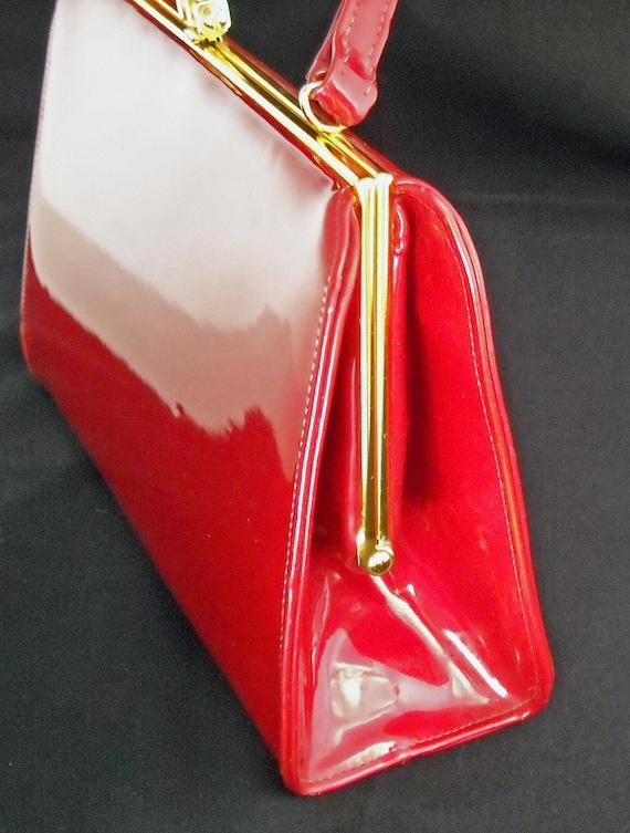 60s Red Patent Leather Handbag Purse Mod Bombshell