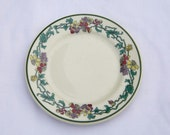 "Vintage Shenango China plate, 5 1/2"" butter, bread dish, old Shenango logo, red floral wreath, ivory plate, vine pattern"