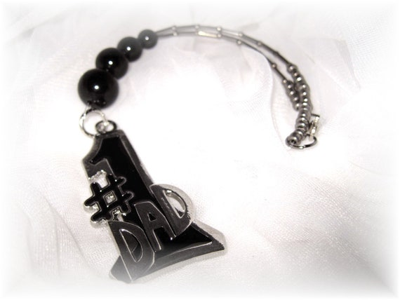 Sale Rear View Mirror Charm, NO. 1 DaD, Black & Silver, Free Shipping