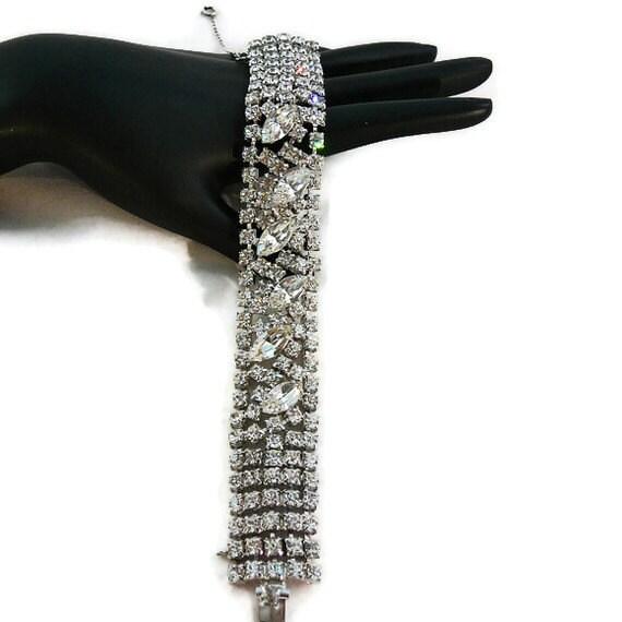 Large KRAMER Signed Clear Rhinestone Rhodium Bracelet-Safety Chain