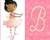 """Ballerina illustration print for girl's room - Initial B - 11""""x17"""" - Can be personalized with any letter"""