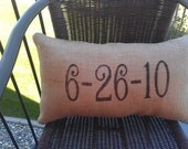 Anniversary Burlap Pillow
