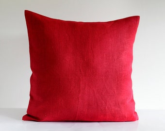 Red pillow cover - linen throw pillows - solid cushion case - throws  0031