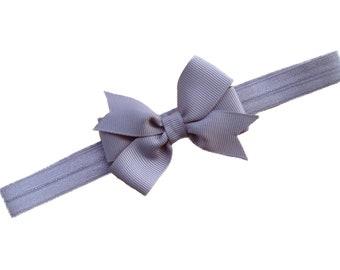Gray bow headband - gray baby headband, gray newborn headband, baby bow headband, gray headband, gray baby bow headbands
