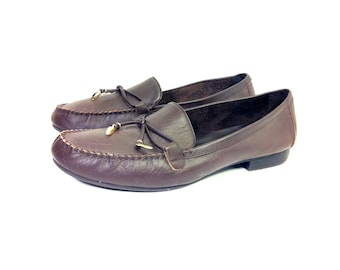 80s Leather Flat Loafers 9 - Slip On Preppy Flats with Bow 9 - Brown Leather Moccasins 9