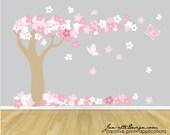 Tree Wall Decal, Cherry Blossom Tree Fabric Wall Decal, Tree Wall Sticker