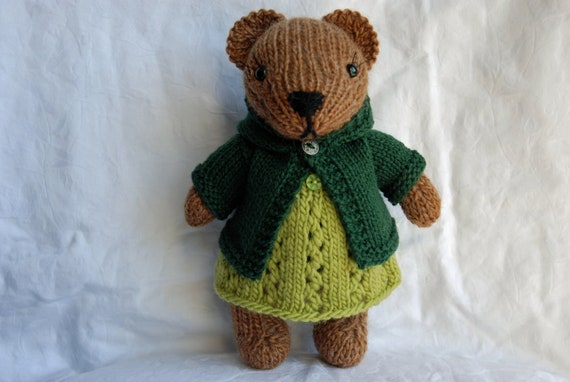 Knitted Teddy Bear  toy in Fall/Autumn outfit - Green Wool Dress and Hoodie