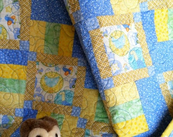 Patchwork Baby Boy Quilt featuring Cars Planes and Boats
