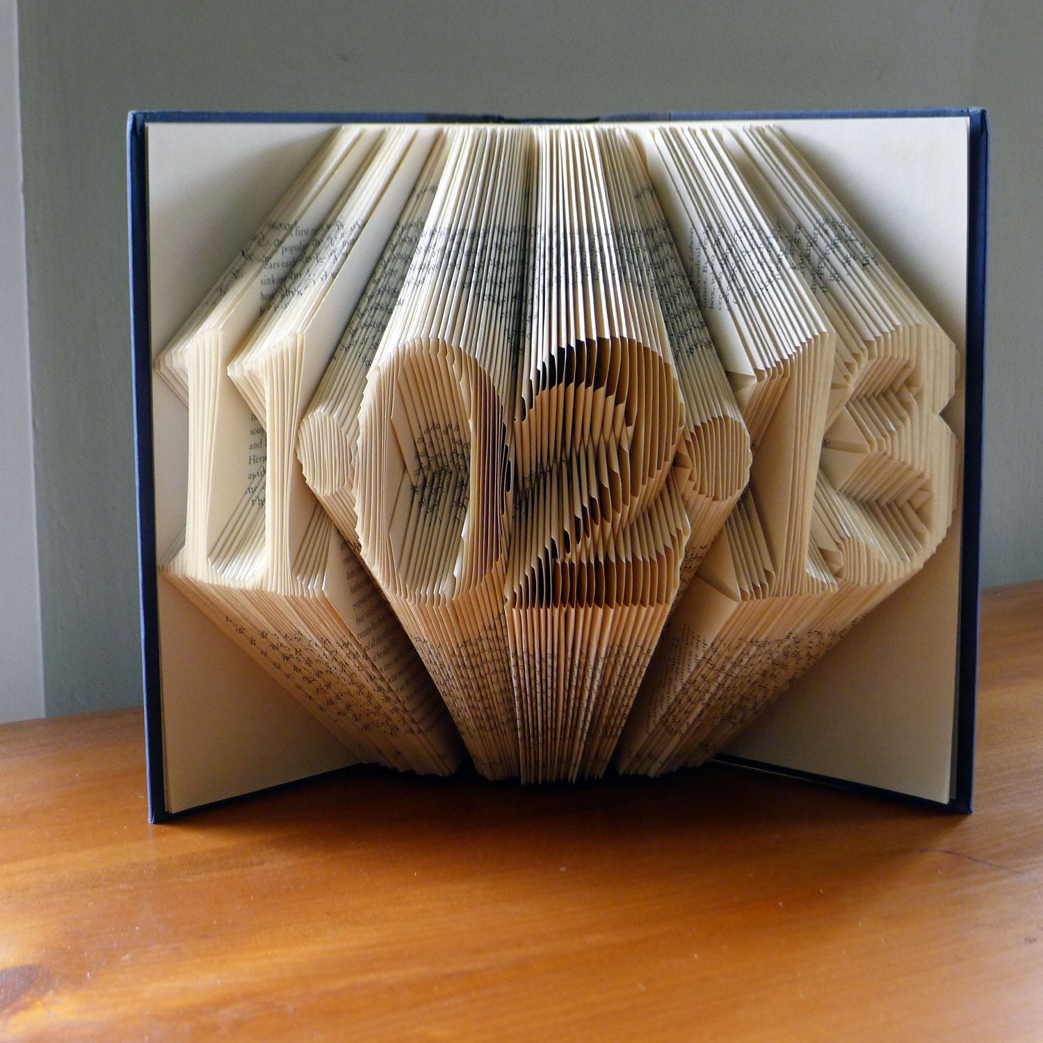 Folded book art paper anniversary gift for him by for Paper gift ideas for anniversary