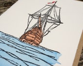 Tall Ship / Schooner Hand-printed Letterpress and Watercolour Painted Card