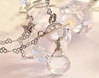 Pure Quartz Broilette Necklace Solid Sterling Silver Heart Chain Toggle Charm Rock Crystal Gemstone High End Gift for Her