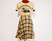 70s Pleated Plaid Fit & Flare Wool Skirt