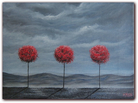 RESERVED for Lori, Original Abstract Painting, Contemporary Landscape Painting, Red Trees Oil Painting, Fantasy Dreamscape, 9 x 12