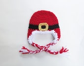 Crochet Santa Claus Earflap Hat with Tassels, Baby through Adult Sizes, Holiday photo prop, Christmas