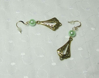 Antiqued Gold Open Marquis Drop with Green Mint Glass Pearl Bead Earrings