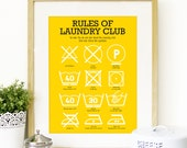 Kitchen Laundry Club Poster Art with laundry symbols explained Mid Century Modern decor Poster Art Kitchen art wall in yellow funny kitchen