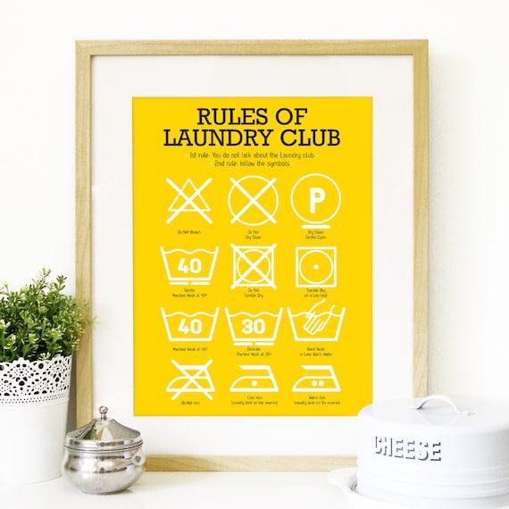 Laundry Symbols Art Kitchen Laundry Club Poster Art With Laundry Symbols Explained