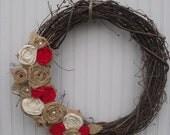 Burlap Wreath - Natural & Red