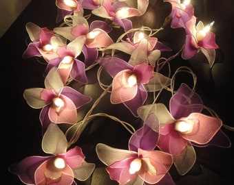 20 Pink-White-Purple Orchid Flower Fairy String Lights Hanging Wedding Gift Party Patio Wall Floor Home Accent Floral Decor 3.5m