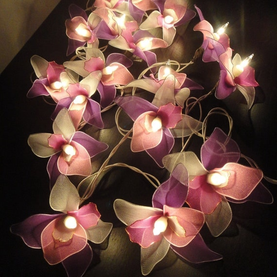20 Pink-White-Purple Orchid Flower Fairy String by marwincraft
