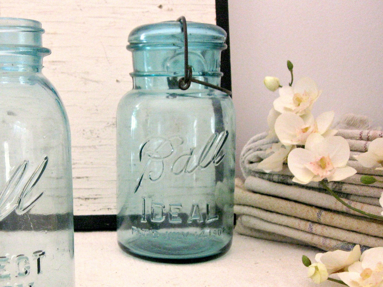 blue mason jars vintage blue ball ideal canning jars with