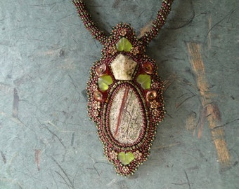 Brazilian Granite with a Green Amethist, Beaded Embroidery Necklace