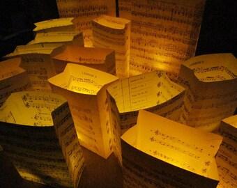 20 Luminaries, Music Decorations, Luminary Package, Sheet Music Decor, For Weddings & Events, Paper Lanterns, Luminaries, Event Decor