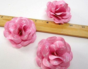 50 and Fabulous Birthday Decoration  Personalized Pink Birthday Paper Roses Without Stems  Set of 12