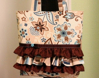 Tote Bag Purse with Ruffles - brown/teal