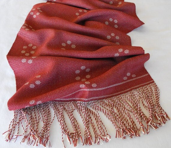 Table Runner Hand Woven in Brick Red and Straw Gold, Acrylic and Cotton Runner, Red Cotton Table Runner, Handwoven Table Runner, Tabletop