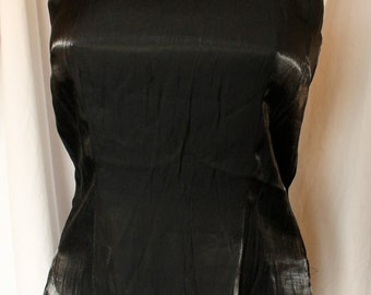 Vintage 80's Miss California Black Sleeveless Tank Top Tunic Shimmer Size 8 Excellent Condition New with tags